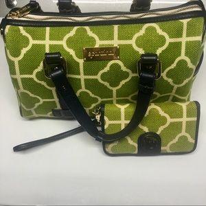 Spartina 449 satchel bag with matching wristlet